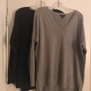 Two GAP V Neck Sweaters - Size L